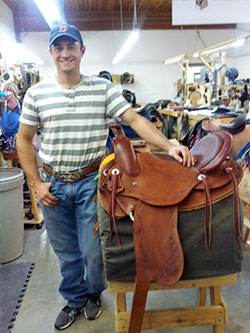 Ansur craftsman with a high quality, handmade, treeless saddle